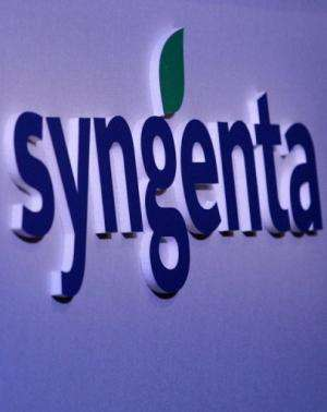 A logo of Swiss agrochemicals group Syngenta is pictured during a press conference in London on February 7, 2008