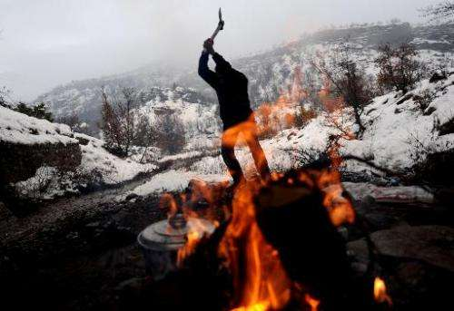 A man chops wood to make a fire in the mountains of the eastern Turkish city of Tunceli, on January 30, 2010