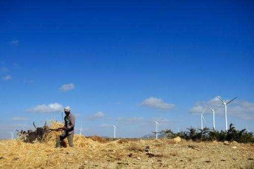 A man works along a road near turbines at Ashegoda wind farm in Ethiopia's northern Tigray region, on November 28, 2013