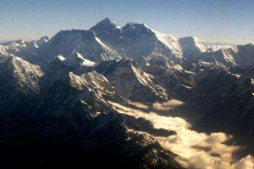 An aerial view of Mt. Everest is pictured on May 26, 2003