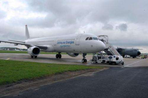 An Airbus A321 aircraft using Biojet A-1 Total/Amyris is parked on the tarmac at Le Bourget airport, June 20, 2013