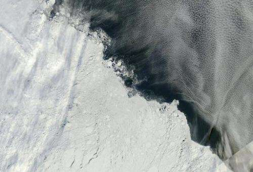 An area of the Arctic sea ice pack roughly northeast of the New Siberian Islands, captured by multiple orbits of the MODIS instr