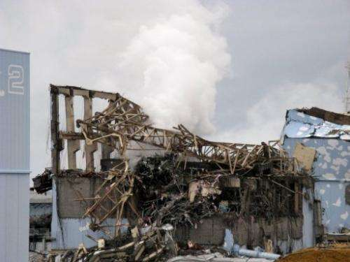 A newly-released picture of the unit 3 reactor building at Fukushima taken on March 15, 2011