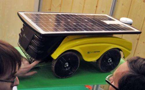 A new solar-powered vineyard robot called Vitirover is displayed on November 27, 2012 in Bordeaux