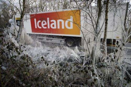 An Iceland supermarket lorry passes on a road near Hazeley Bottom, south of Reading, on March 27, 2013