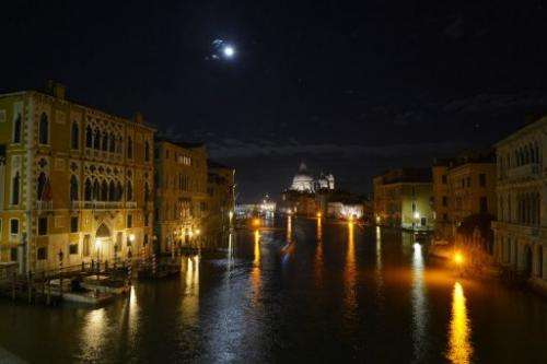 A night view taken on December 2, 2012 of the Grand Canal in Venice