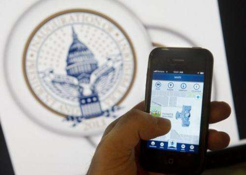 An iPhone app displays information about the 2nd inauguration of Barack Obama in Washington, DC, on January 14, 2013