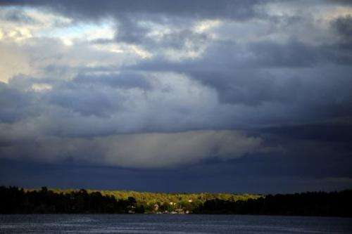 An island near Stockholm is shown lighted by a sunrise on June 15, 2009