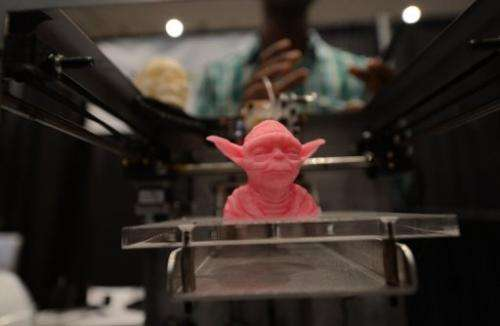 "An object made with a 3D printer on display at the ""Inside 3D Printing"" exhibition in New York on April 22, 2013"
