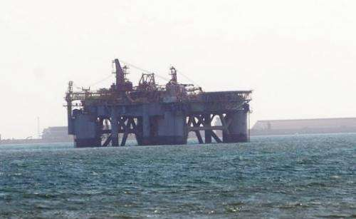 An oil rig in Sekondi waters off Ghana on December 1, 2012