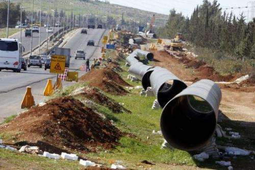 An under construction pipe line on March 30, 2011 near Amman