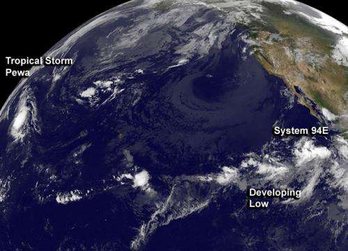 A Pacific-wide satellite view catches Tropical Storm Pewa and a developing storm