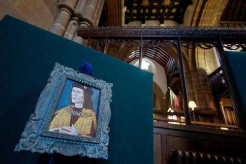 A painting of King Richard III is pictured in Leicester Cathedral in central England on February 4, 2013