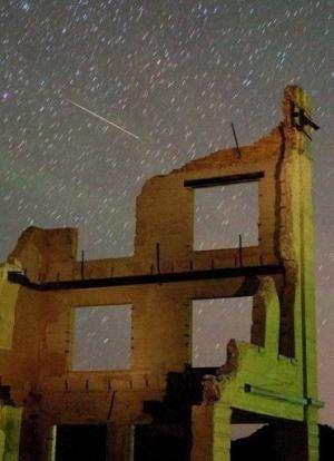 A Perseid meteor streaks across the sky on August 13, 2007, in Nevada.