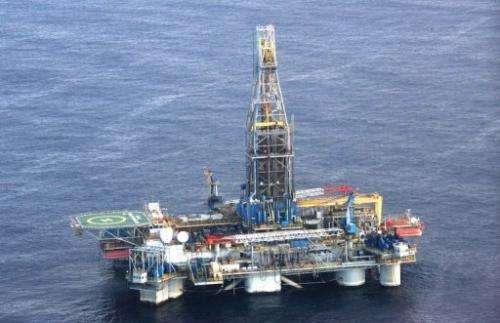 A picture issued on November 21, 2011 shows Noble's Homer Ferrington drilling for hydrocarbons off the coast of Cyprus
