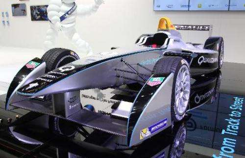 A Renault Spark SRT-01E FIA Formula E race car is presented at the booth of Michelin during the media day of the IAA (Internatio