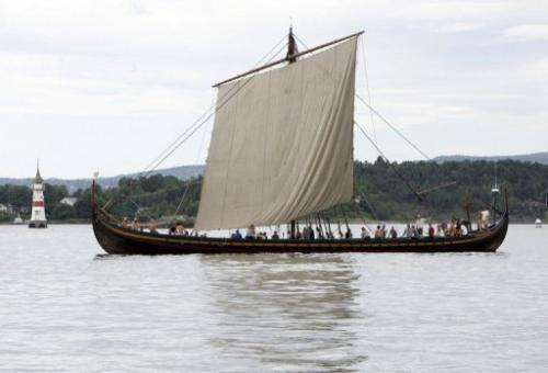 A replica of a Viking ship sails near Oslo on June 17, 2006