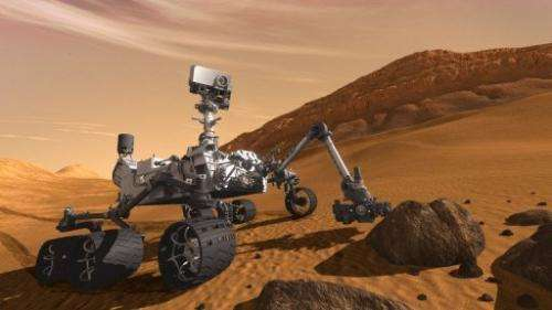 Artist concept painting shows NASA's Mars Science Laboratory Curiosity rover on the surface of the planet, July, 2011