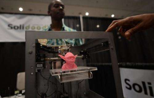 A sample object, printed with a 3D printer, is on display during an exhibition in New York on April 22, 2013