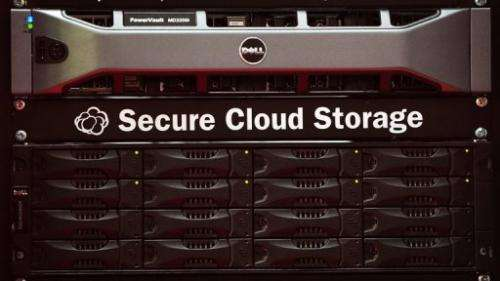 A 'Secure Cloud Storage' drive is seen at the CeBIT, world's biggest IT fair, in Hanover, on March 3, 2011
