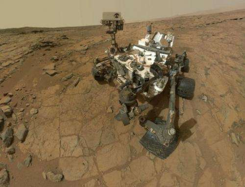 A self-portrait of NASA's Mars rover Curiosity on February 7, 2013