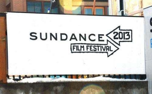 A sign is seen at the 2013 Sundance Film Festival on January 16, 2013 in Park City, Utah