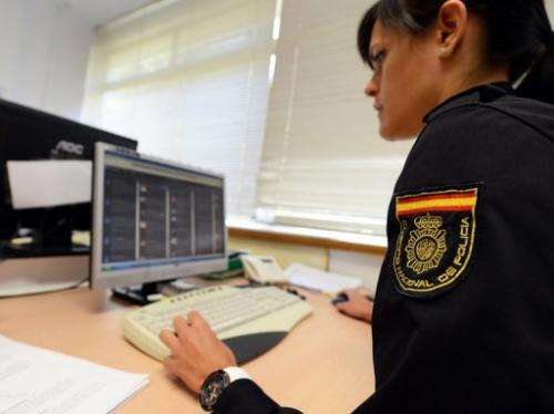 A social network officer from the Spanish National Police, Elisa Rebolo, in her office in Madrid on May 31, 2013