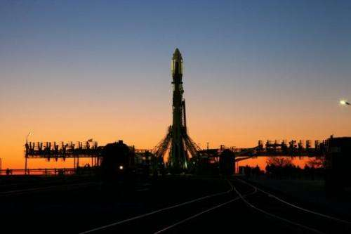 A Soyuz-2.1b rocket, carrying an Bion-M capsule is seen on the launch pad a Russia's Baikonur cosmodrome, April 18, 2013