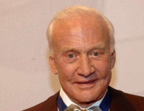 Astronaut Buzz Aldrin is pictured on April 13, 2013 in Las Vegas, Nevada