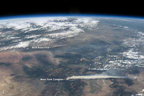 Astronaut view of Colorado fires