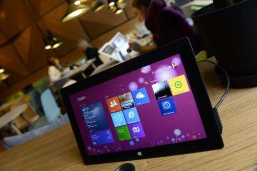 "A tablet is seen at the ""Microsoft Berlin"" venue on November 5, 2013 in Berlin"