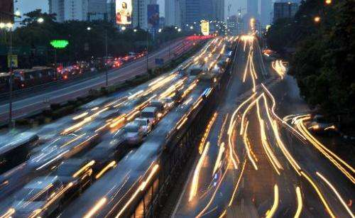 A timed-shutter exposure of evening gridlock traffic in Jakarta, pictured on October 22, 2013