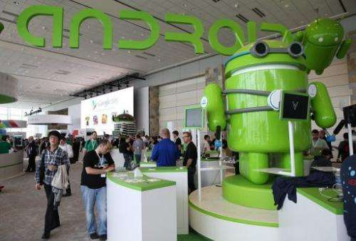 Attendees visit the Android booth during the Google I/O developers conference on May 15, 2013 in San Francisco
