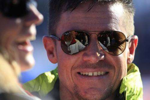 Austrian skydiver Felix Baumgartner attends the FIS World Cup men's downhill race, January 26, 2013, Kitzbuehel, Austria