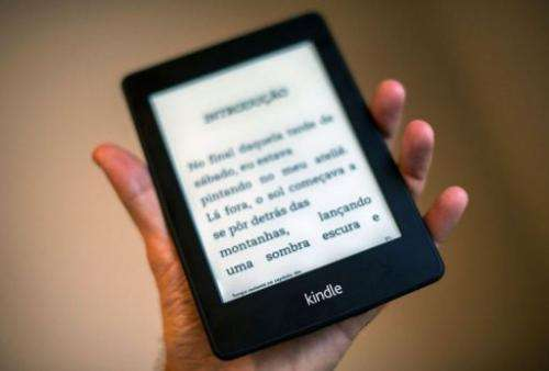 A view of a Kindle reader in Sao Paulo, Brazil on March 15, 2013