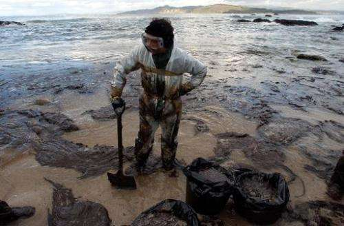 A volunteer takes a rest as he collects oil from the sunken tanker Prestige in the Vigo Rias on December 12, 2002