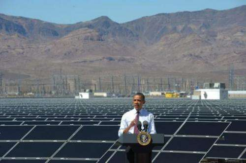 Barack Obama speaks during a visit to the Copper Mountain Solar Project in Boulder City, Nevada, on March 21, 2012