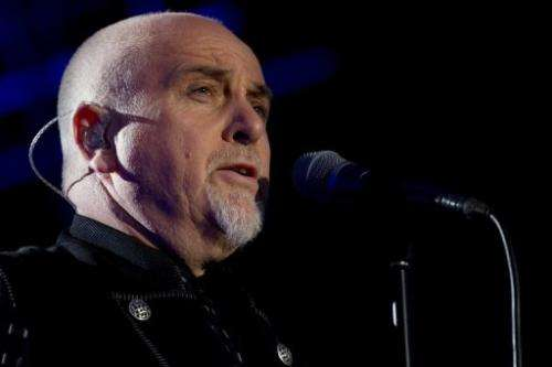 British singer Peter Gabriel performs in a music festival in Paddock Wood, Kent, on June 29, 2012