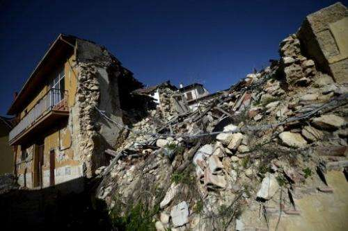 Buildings in Onna, Italy, that were damaged in the 2009 earthquake, seen on October 22, 2012