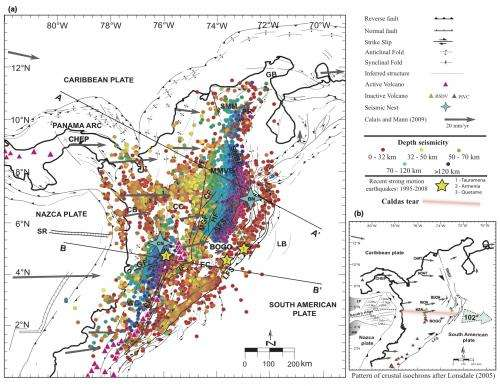 'Caldas tear' resolves puzzling seismic activity beneath Colombia