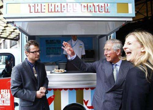 Chef Hugh Fearnley-Whittingstall (left) and Britain's Prince Charles in London on May 11, 2011