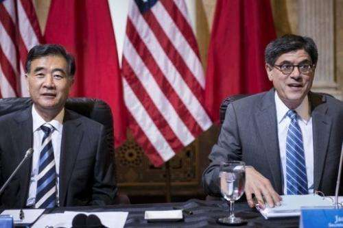 Chinese Vice Premier Wang Yang (L) and US Treasury Secretary Jack Lew are pictured on July 11, 2013, in Washington