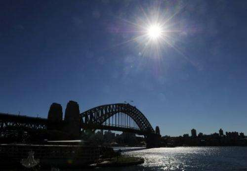 Cloudless blue skies are seen above the Sydney Harbour Bridge, on May 22, 2012