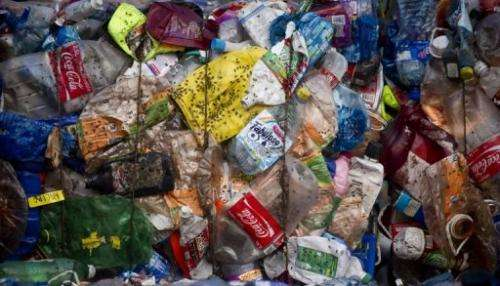 "Compacted bales of plastic bottles at the ""Bordo Poniente"" garbage dump in Mexico City on January 18, 2012"