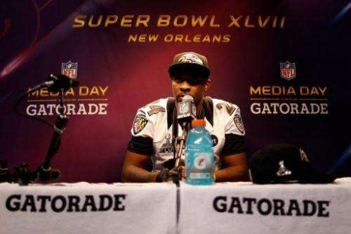 Corey Graham of the Baltimore Ravens answers questions from the media, on January 29, 2013, in New Orleans