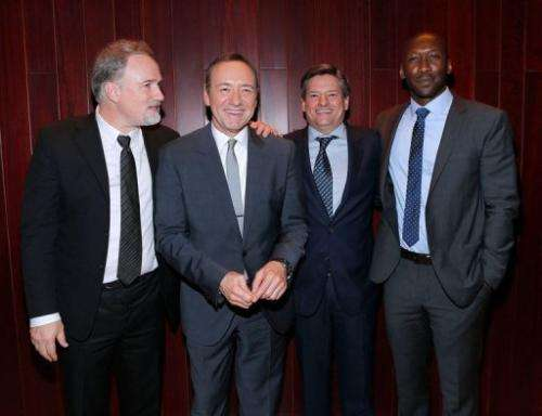 David Fincher, Kevin Spacey, Ted Sarandos and Mahershala Ali, pictured in New York, on January 30, 2013