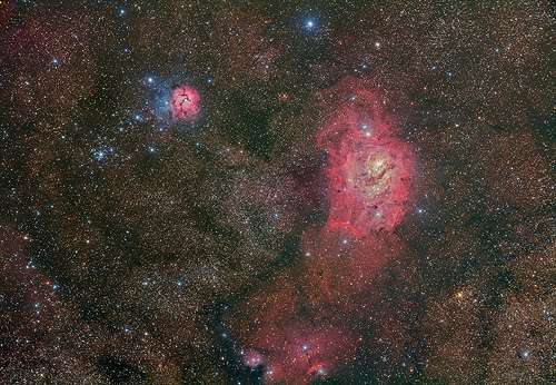 Deep and wide: Stunning amateur view of the lagoon and trifid nebulae