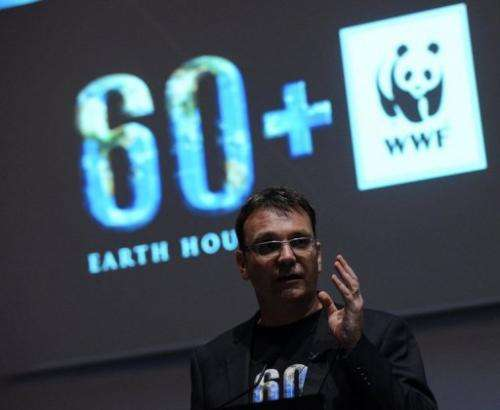 Earth Hour's CEO and co-founder Andy Ridley speaks at a press conference in Singapore on February 27, 2013
