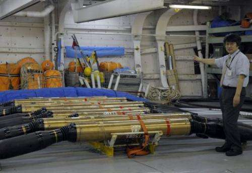 Earthquake and tsunami sensors on the submarine cable construction ship,