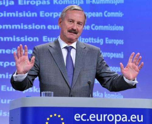 Europe's transport commissioner Siim Kallas gives a press conference on May 24, 2011 in Brussels